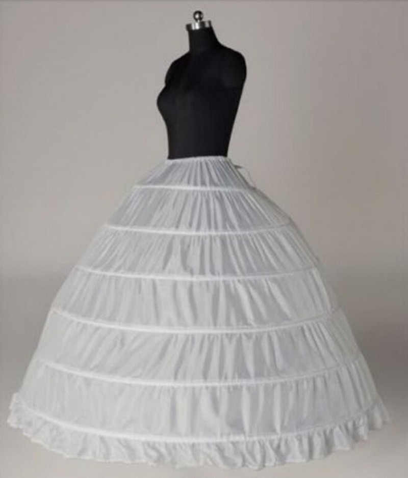 Acessórios de casamento petticoat longo crinoline underskirt 6 hoops saia petticoats tule branco vestido de noiva lolita petticoat