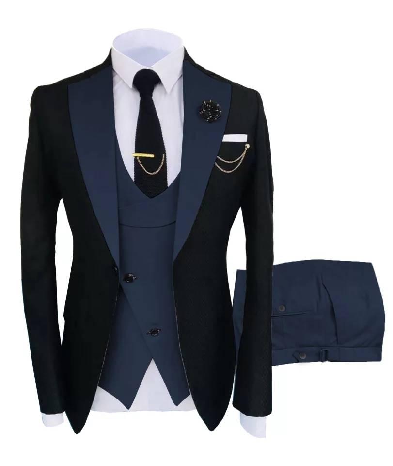Костюм облегающий мужской из 3 предметов, свадебные смокинги на одной пуговице, пик с лацканами, блейзер для выпускного вечера