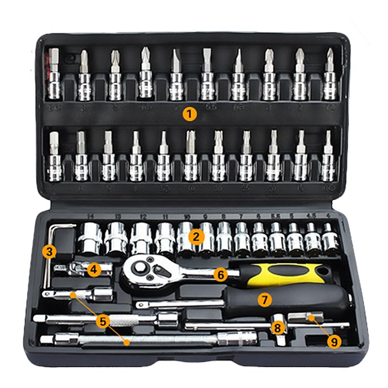 46pcs/set Professional Wrench Socket Set Hardware Car Boat Motorcycle Repairing Tools Kit Multitool Hand Tools Car-Styling