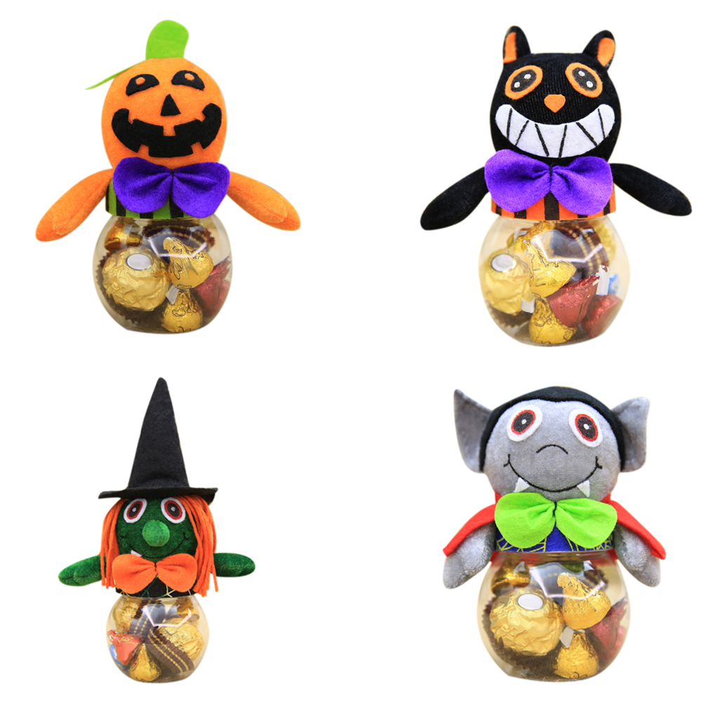 Halloween Decorations Festival Atmosphere Gift Box Pumpkin Candy Can Box Jar Holiday Ornament