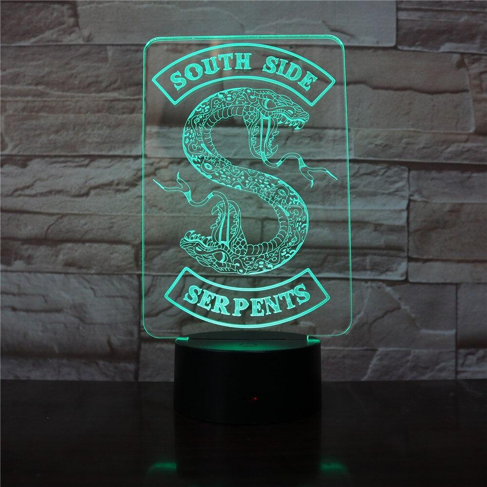 Riverdale South Side Serpents Snake Logo Led Night Light Bedroom Decor Friend Birthday Present Table Lamp Night Light