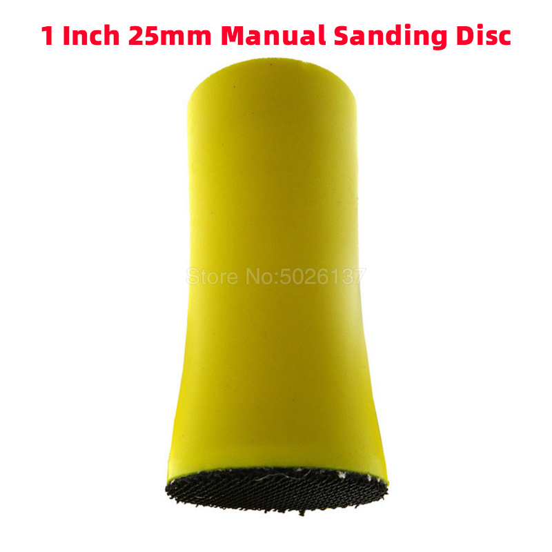1Pcs 1 Inch 25MM Sanding Disc Sandpaper Polishing Pad Hand Grinding Hook Loop Discs Shaped Block Sponge Abrasive Manual Holder