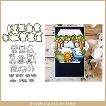 Mix Cute Animals Cartoon Lion Tiger Monkey Letter Leaves Metal Cutting Dies Match Clear Silicon Stamps Make Cards New Stencils