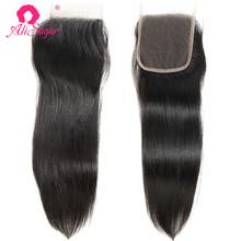 Ali Sugar Virgin Hair prosto 4*4 zamknięcie koronki 10-20 cali Natural Color 100 nieprzetworzone ludzkie włosy rozszerzenie tanie tanio Dziewiczy włosy Silky prosty 130 4 x 4 Średni brąz Brazylijski włosy Swiss koronki Ręka wiążący Pure color Wszystkie kolory