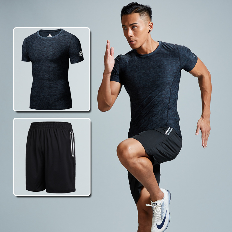 2019 Gym Equipment Plus-sized Menswear Running Sports Set Wicking Breathable Short Sleeve Training Morning Run Fitness Suit