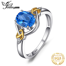 цена Love Knot 1.5ct Natural Blue Topaz Inlay Diamond Ring 925 Sterling Silver 18K Yellow Gold Engagement Rings Women Brand Jewelry онлайн в 2017 году