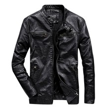 Mens New Style Pure Collar Leather Coat Fashion Casual Color Solid Stand Jacket Jaqueta Masculina 8.12