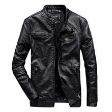 купить Men's New Style Pure Collar Leather Coat Fashion Casual Pure Color Coat Solid Stand Collar Fashion Jacket Jaqueta Masculina 8.12 по цене 1700.58 рублей