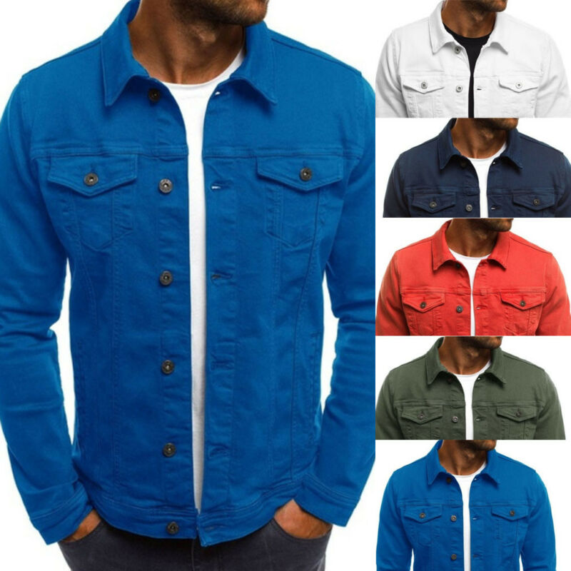 2019 New Mens Denim Jeans Jacket Slim Fit Button Pocket Jacket Coat Men Male Autumn Classic Retro Vintage Black Blue Washed Coat