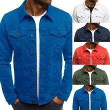 2019 New Mens Denim Jeans Jacket Slim Fit Button Pocket
