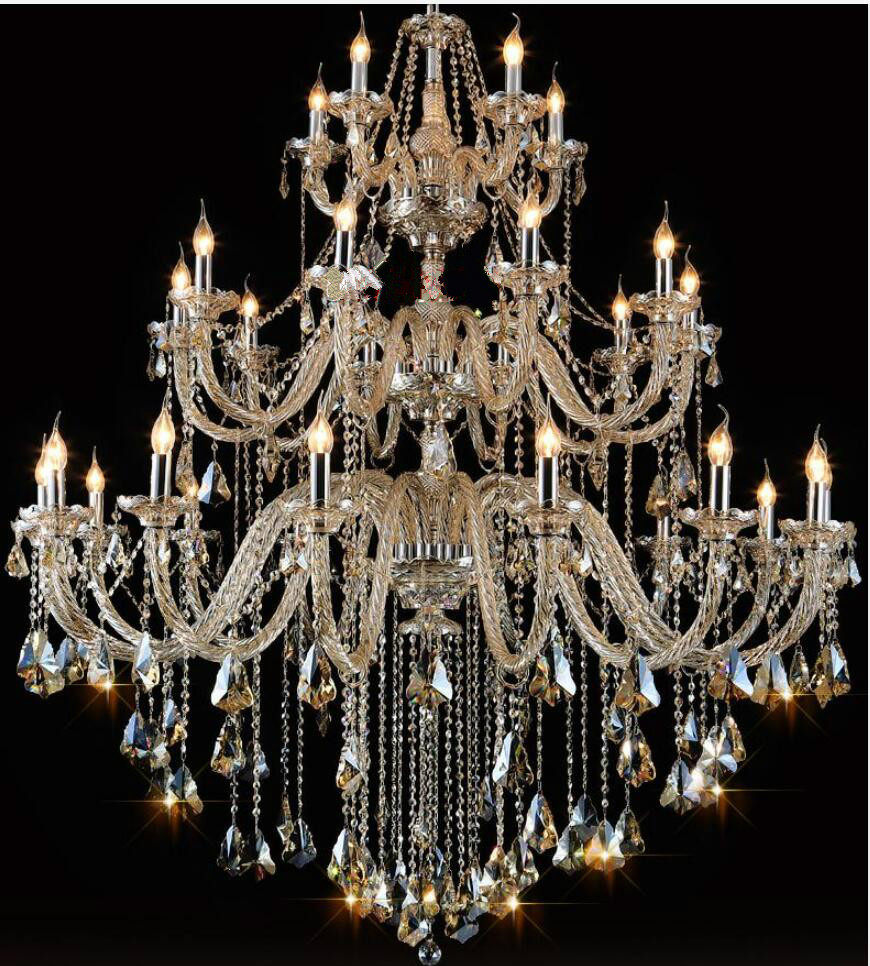 Gratis Pengiriman Modern Chandelier Besar Cognac Lampu Kristal Untuk - Pencahayaan dalam ruangan - Foto 2