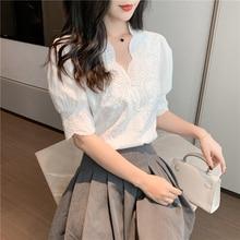 2021 New Summer Linen Cotton Womens Blouse Spring Shirt Female Women Blouses Embroidery Lace Femme Blusas Casual Elegant Vintage