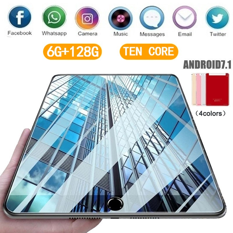 2020 WiFi Tablet PC 1280*800 IPS Screen 10.1 Inch Ten Core 6G+128GB  Android 7.1 Dual SIM Dual Camera Rear 4G Call Phone Tablet