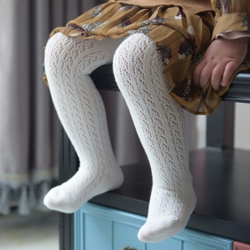 Spring Summer Mesh Thin Baby Pantyhose Kids Girls Princess Tights Infant Children Stockings White Pink Soft Cotton Hosiery