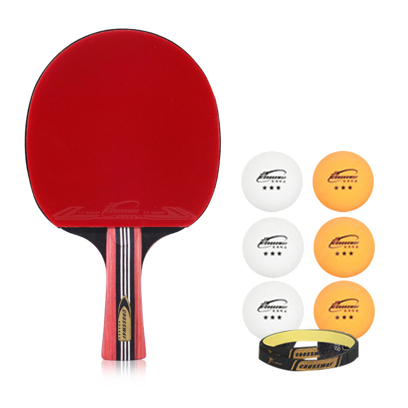 2019 New Beginner Table Tennis Racket 6 Star Racquet Sports Ping Pong Paddle Rubber Bats Pimples In With Balls Carry Bag