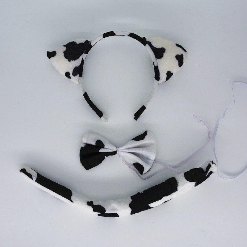Детская повязка на голову с ушками животных для мальчиков и девочек; комплект с галстуком-бабочкой и хвостом для детей и взрослых; карнавальный костюм; вечерние аксессуары для волос - Цвет: 4