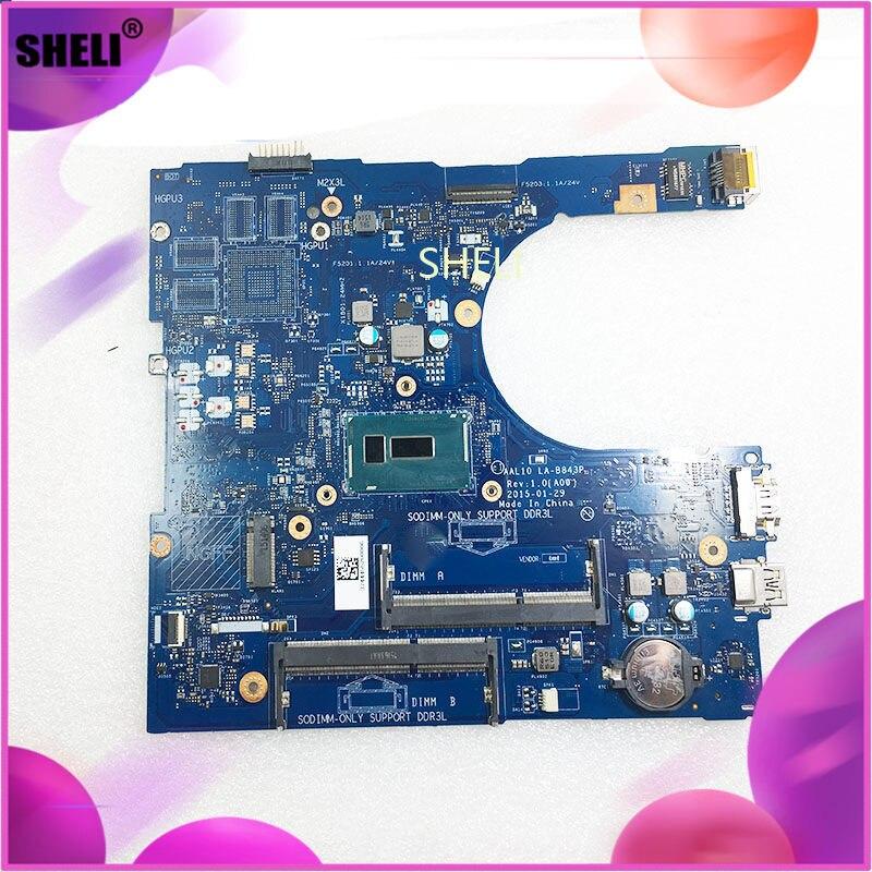 Для DELL CN 0RC3PN 0RC3PN RC3PN AAL10 LA B843P Inspiron 5758 материнская плата для ноутбука SR23W i7 5500U CPU основная плата