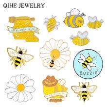 Buzzin arılar emaye Pin arı anne ve çocuk kurtarmak için arı broş toplama bal çiçekleri bal küpü Pin toptan böcek hayvan figürlü mücevherat