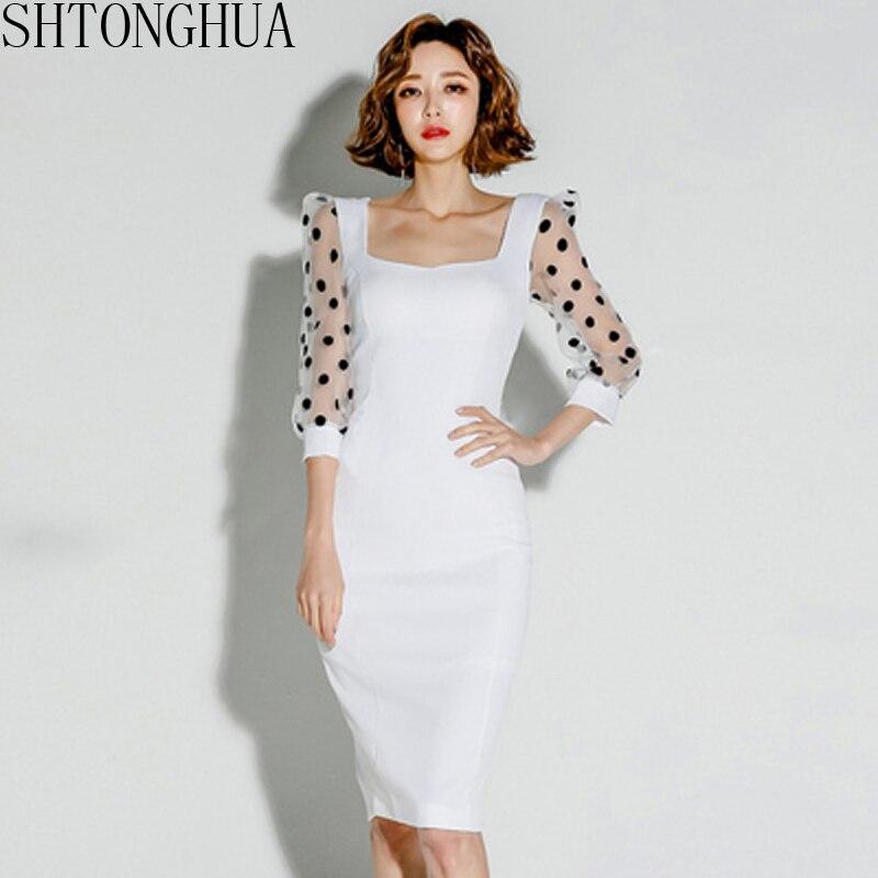 Vestiti Eleganti Signora.2020 Nuova Primavera Estate Bianco Vestito Delle Donne Abiti