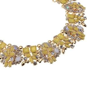 Image 5 - JEROLLIN 4 Colors Glass Rhinestone Flower Necklaces Women Fashion Crystal Jewelry Charm Choker Statement Bib Collar Necklace
