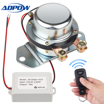 цена на ADPOW Remote Control Car Truck Battery Master Switches 12V 24V Auto Bus Yacht Battery Isolator Cut Off Disconnect Relay + Gloves