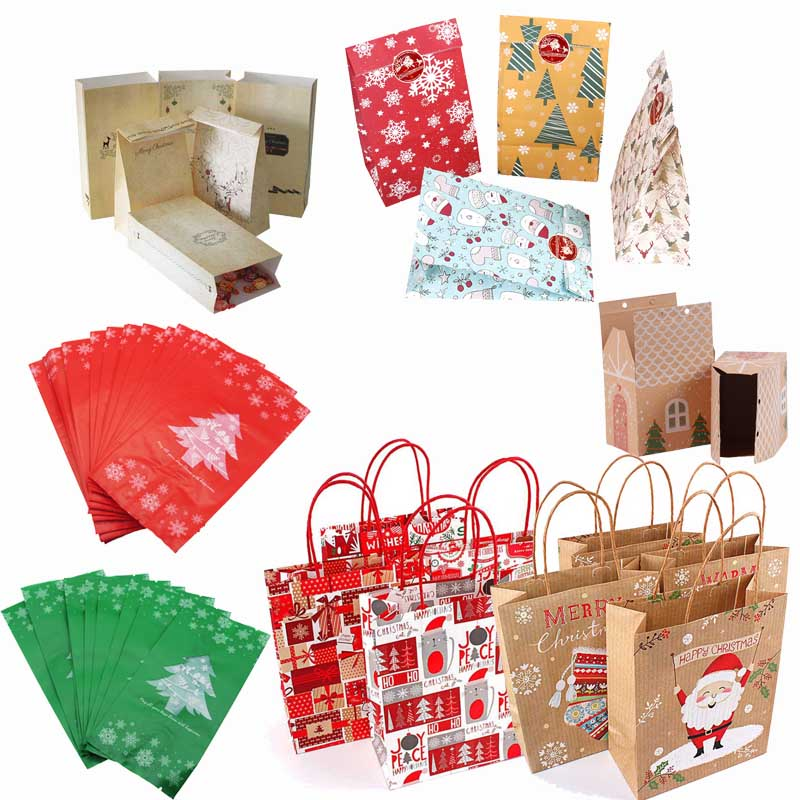 Christmas Paper Kids Gift-bag Box Navidad 2020 New Year Christmas Home Decoration Natal Candy Bags Kerst Noel Treats Packing