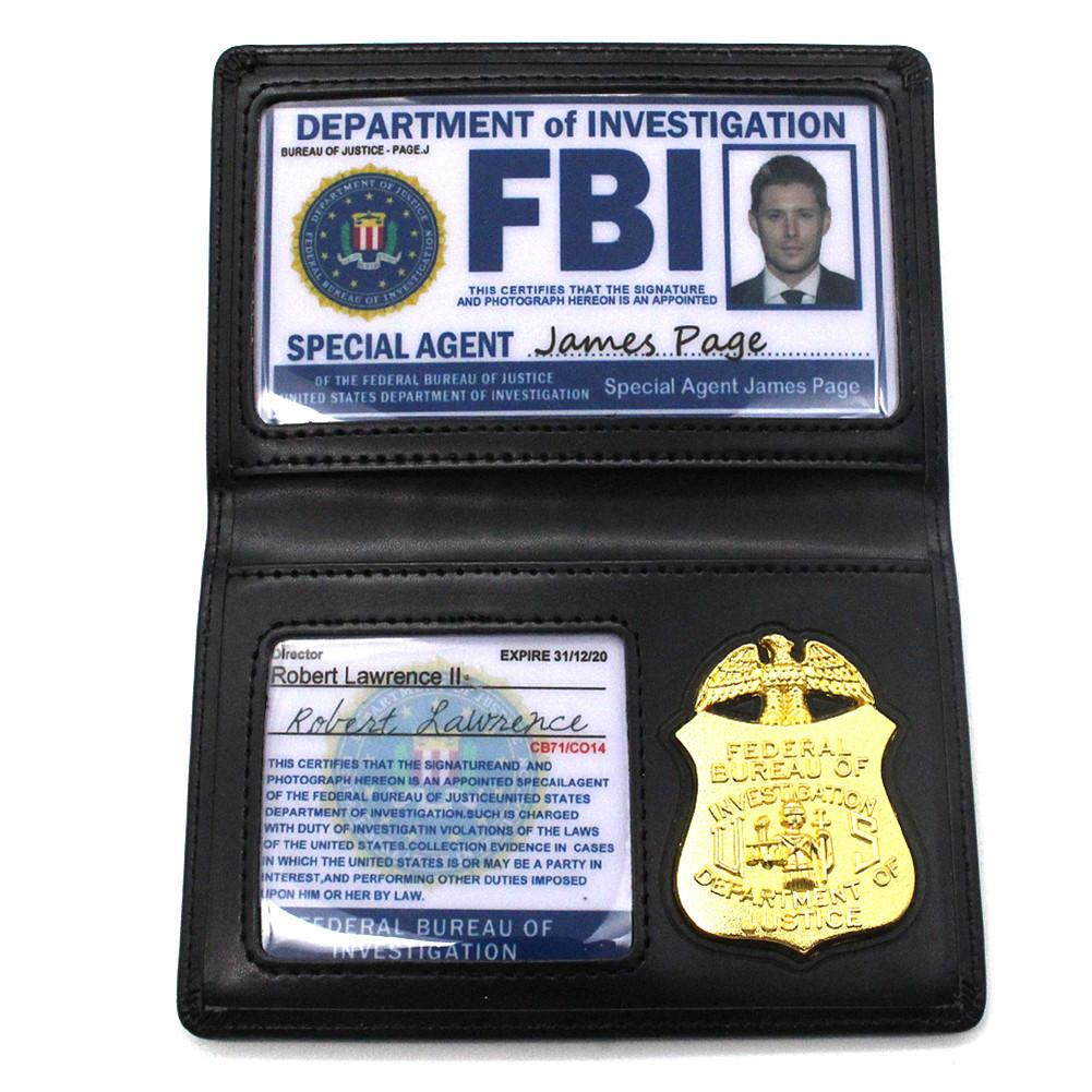Kids Role Occupations Playing Toys Supernatural Dean Sam Winchester FBI Metal Badge Card Holder Police ID Cards Wallets Holder