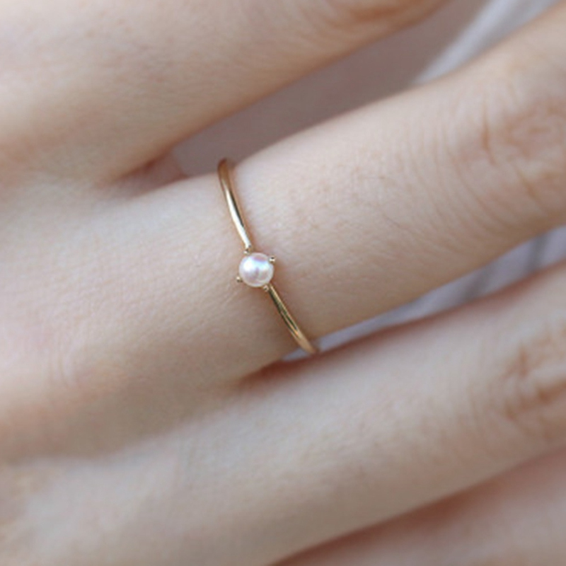 Women's Simple Mini Pearl Ring Thin Gold Ring Female Engagement Ring Jewelry