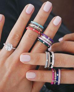 Женское кольцо с эмалью, 10 цветов, с блестящим кубическим цирконием