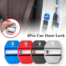 4Pcs Universal Stainless Car Door Lock Stickers For Maserati Ghibli President Levante MC20 MC12 Spyder Coupe Alfieri GranSport