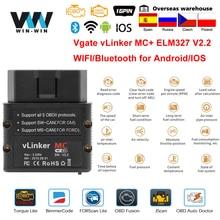 Vgate vlinker mc + elm327 bluetooth 4.0 obd 2 elm obd2 327 wifi carro de diagnóstico para android/ios scanner ferramentas automáticas pk obdlink icar