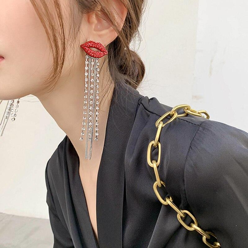 AENSOA Trendy Shiny Full Crystal Tassel Red Lips Dangle Earring Korean Rhinestone Red Mouth Chain Long Tassel Earrings For Women