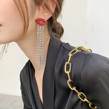 AENSOA-pendientes colgantes con cristales brillantes para mujer, aretes colgantes, labios rojos, cadena larga con borla, diamantes de imitación, moda coreana, Boca roja