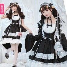 Original black and white maid costume cosplay dress lady lolita goth tuxedo maid outfit женское платье lolita dresses maid cosplay costume