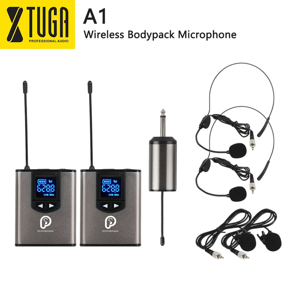 UHF Wireless System With Headset Mic/Lavalier Lapel Mic,Dual Bodypack Transmitters And One Mini Rechargeable Receiver 1/4