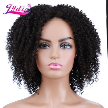 Lydia Short Curly Synthetic Wigs for Women Natural  Black Middle Part Lace Wig Heat Resistant Looking Hair Mixed - discount item  42% OFF Synthetic Hair