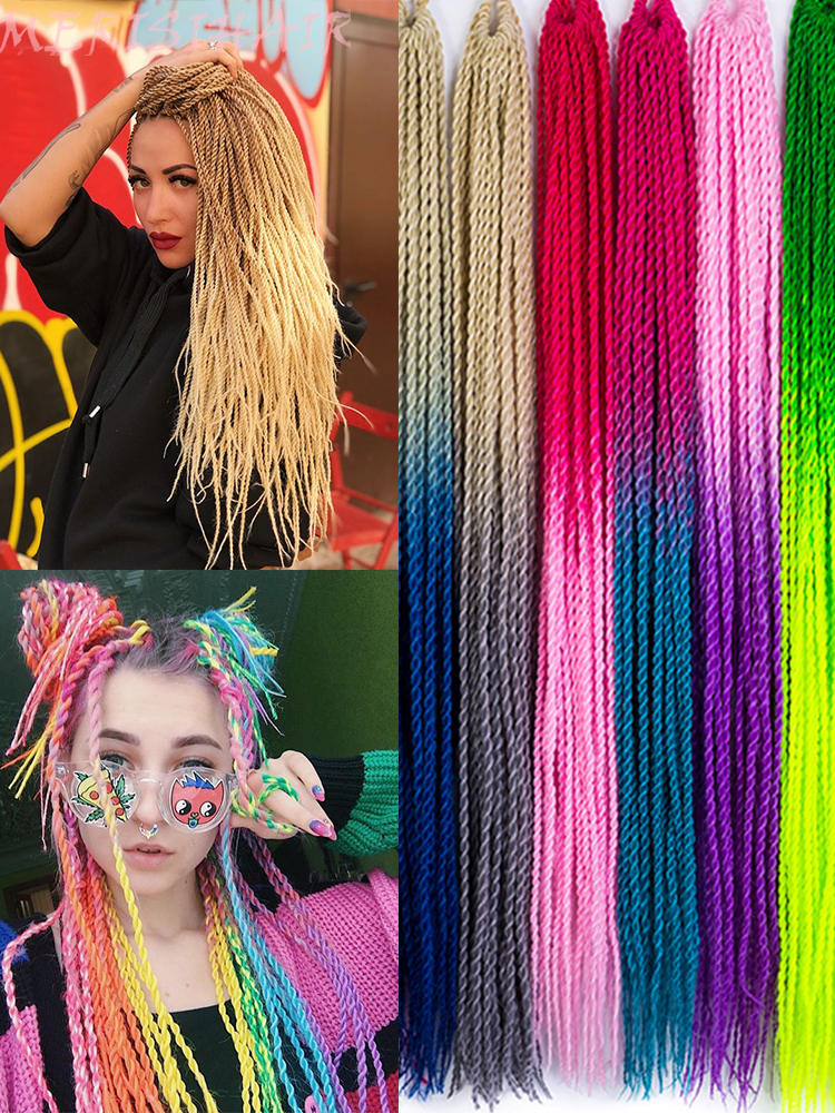30-Roots/Pack Synthetic Braiding-Hair Crochet Senegalese Pink Blue Women 24inch Ombre