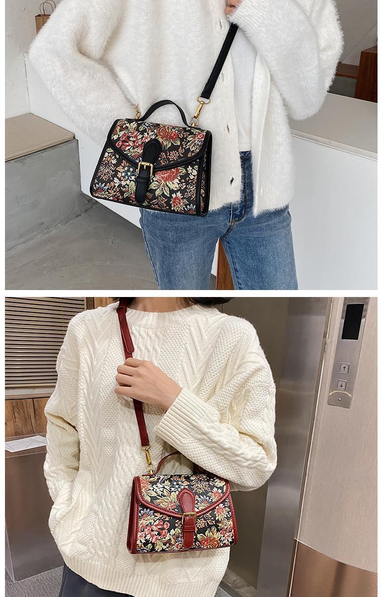 vintage flowers pu leather women's handbags purses women shoulder crossbody bag bags (11)