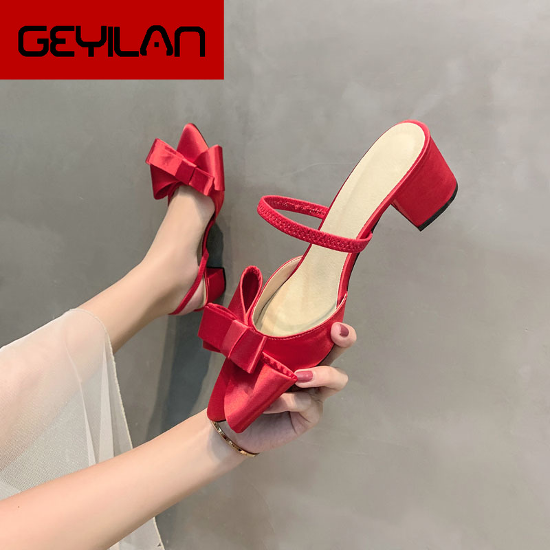 Pointed half slippers women wear 2019 new Baotou fashion bow High-heeled and lazy Muller slippers