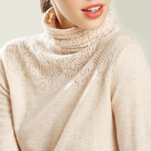 Sweater Women Sweter-Robe Turtleneck Cashmere Pull-Femme Cotton-Blend Openwork Carve