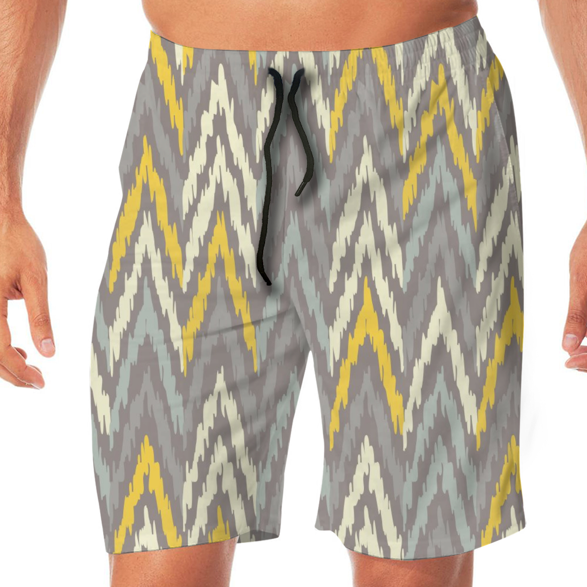 Ethnic Boho Ikat Men's Beach Pants Quick Drying Beach Shorts Swimming Surfing Boating Water Sports Trunks Loose Swimwear Shorts