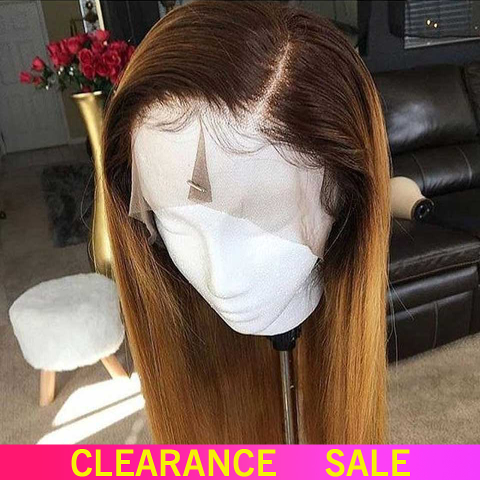 1b 27 Ombre Straight Lace Front Human Hair Wig Free Part Highlights 13x4  Non-Remy Brazilian Lace Front Wigs For Black Women