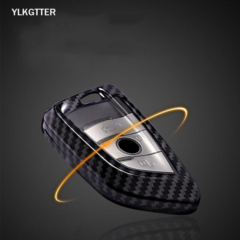 YLKGTTER Hard Protective Car Key Shell for 2018 Version BMW 5 7 Series X1 X3 Key Case Carbon Fiber Pattern Car Key Case No Chain|Car Key| |  - title=