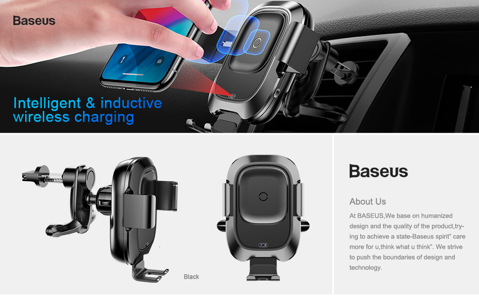 Baseus Qi Car Wireless Charger For iPhone Xs Max Xr X Samsung S10 S9 Intelligent Infrared Fast Wirless Charging Car Phone Holder 1