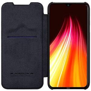 Image 1 - Voor Xiaomi Redmi Note 8 Pro / Note 8T Case Nillkin Qin Classic Flip Pu Cover Vintage Flip Lederen back Cover Met Card Slot