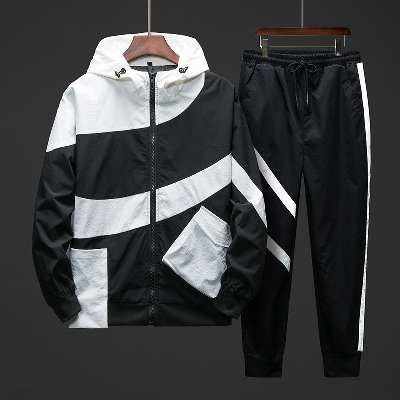 Men Sports And Leisure Suit Korean Version Of The Trend Of Tooling Jacket Jacket Men Two Piece 2019 Autumn New Sports Suit