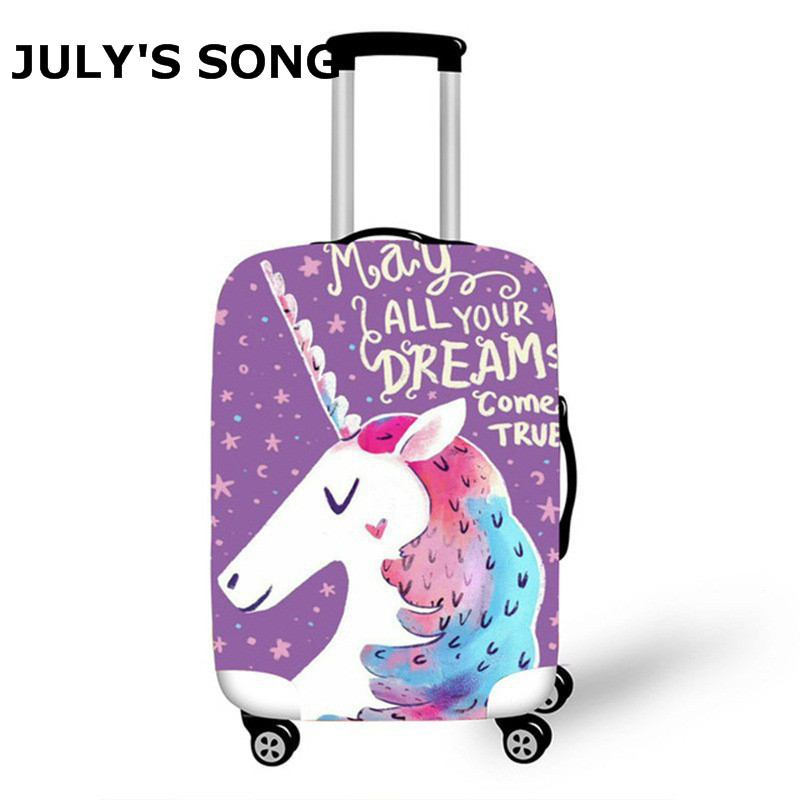 JULY'S SONG Unicorn Luggage Protective Cover For 18-32inch Suitcase Trolley Cartoon Elastic Luggage Cover Travel Accessories