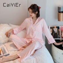Caiyier 2020 зимняя женская пижама с длинным рукавом Простой