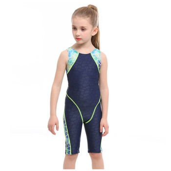 2020 New Professional Girls One-piece Swimming Trunks bathing Children suit Swimsuit High Quality Strech Fabric Swimwear - Blue, S