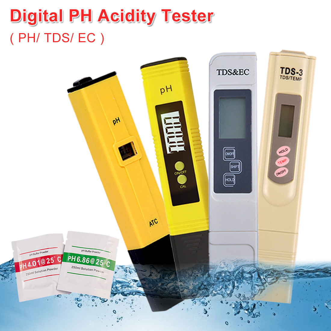 Digital PH /TDS/ EC Meter Tester Thermometer Pen Water Purity PPM Filter Hydroponic For Aquarium Pool /Water Monitor /Food Acids